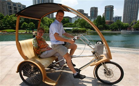 Trendsetters: Chris Trees and his wife Florence have developed a modern tricycle made from bamboo