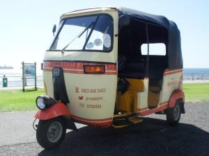Monarch Tuksis are made in India by Bajaj. Their 197cc, single-cylinder two-stroke engines have a distinctive sound that gives them their generic name, tuk-tuk.