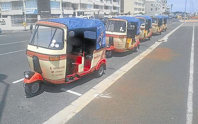 PARK: Monarch Tuksi Company vehicles in Cape Town. The city does not have any policy framework that allows for the licensing of tuk-tuks. Picture: MONARCH TUKSI COMPANY