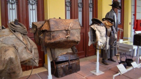 """The cheese was transported in """"canastras"""", square leather bags on show at the Arts and Crafts Museum of Belo Horizonte"""