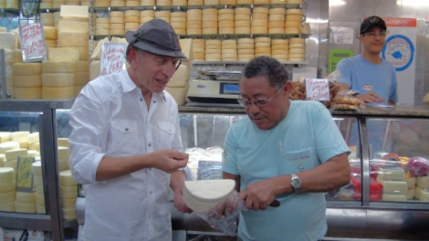 """""""Once you've tasted it, it's hard to stop eating,"""" Will said of the medium aged Minas artisanal cheese at the Central Market in Belo Horizonte."""